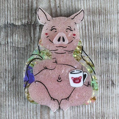 Pig in a Blanket Brooch
