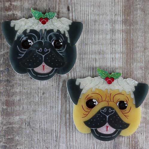 Christmas Pug Brooch