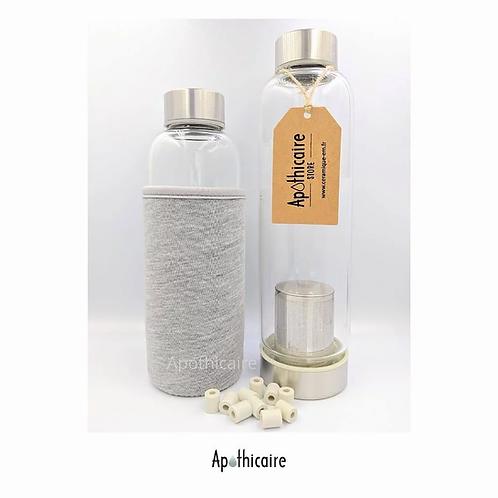 Gourde en verre + perles céramique 420 ml - Apothicaire