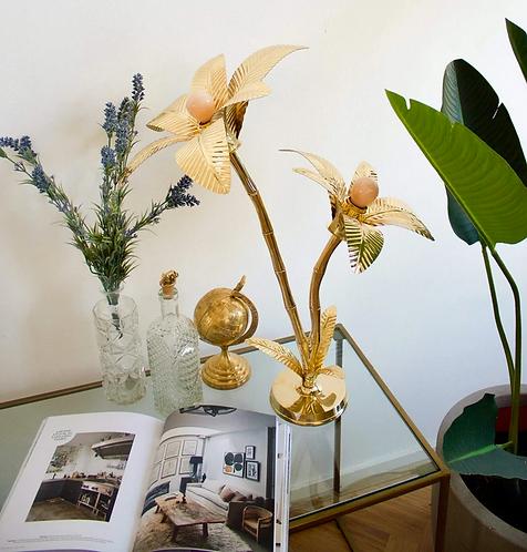 Lampe palmier  en laiton doré