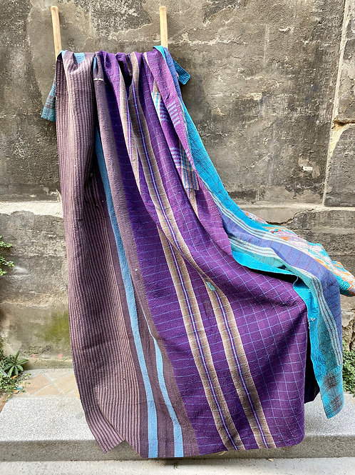 Kantha indien vintage quilté du Rajasthan - Longhi violet et bleu