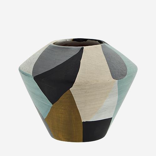 Vase terracotta bleu, gris, moutarde - Madam Stoltz