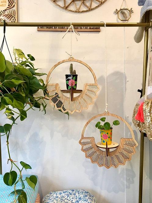 Suspension en bois pour plante motif soleil - découpe Laser -  lasercu