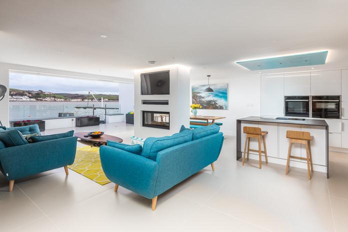 Ship House. Devon Appledore. Modern Open Plan Living Room.
