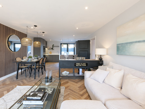 Bol y Maer apartments. Bude. Cornwall. Open plan living space.