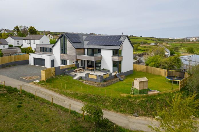 New Build. Bude. Cornwall. Birds Eye View.