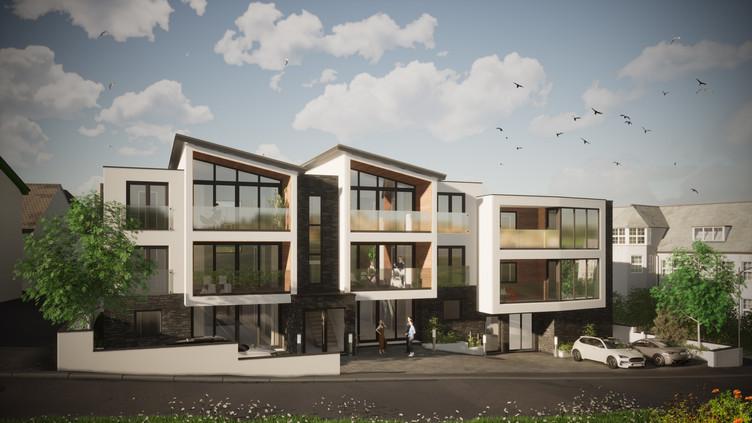 Bol y Maer Apartments. Bude. Cornwall. Street scene.