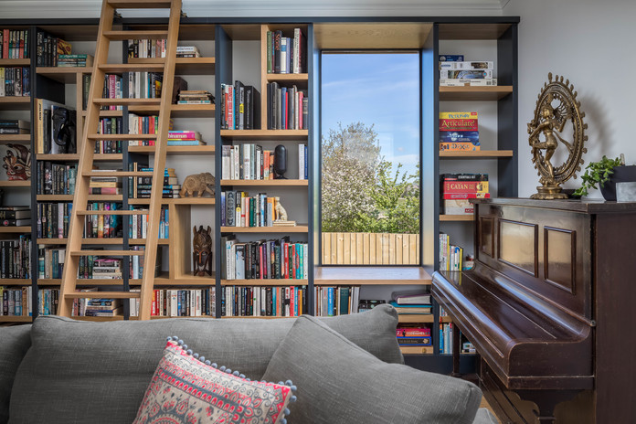 New Build. Bude. Cornwall. Bookcase.