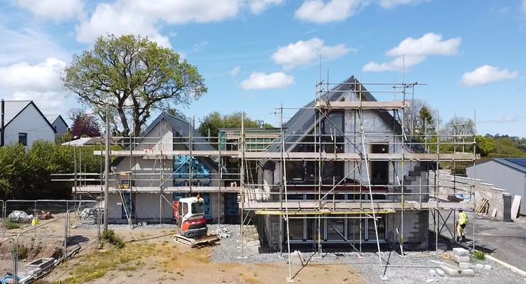 Trebursye. New Build. Launceston. Cornwall. Construction, South East Elevation.