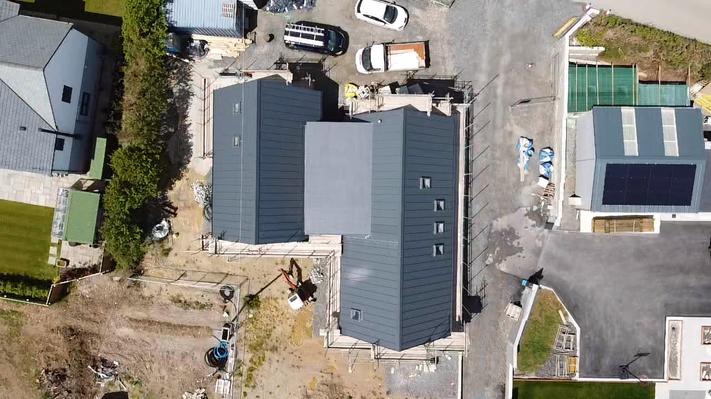Trebursye. New Build. Launceston. Cornwall. Construction Birds Eye View.