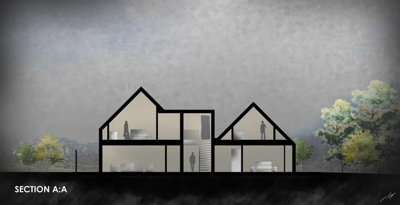 Trebursye. New Build. Launceston. Cornwall.  Artistic Architectural Drawing.