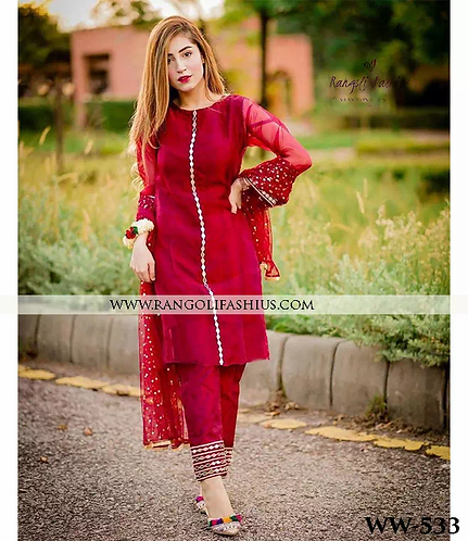 Red Gerogette Top With Heavy Embroidery Work
