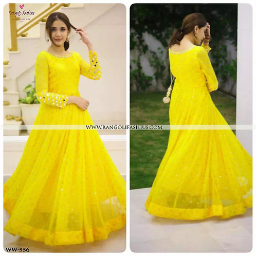 Yellow Georgette Top With Embroidery Work