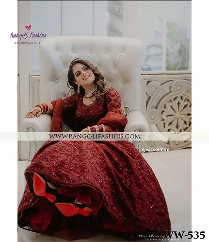 Maroon Gerogette Top With Embroidey Work & Dupatta