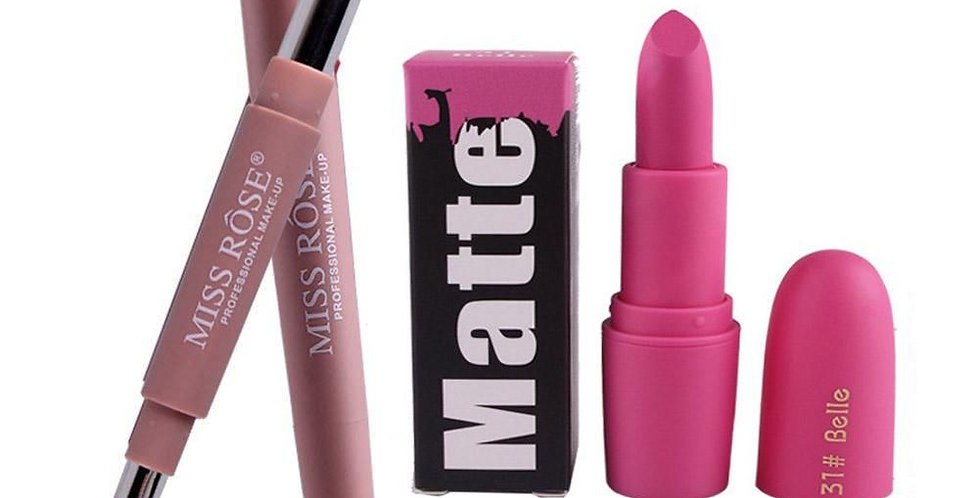 Miss Rose 2in 1 Lipstick & Lipliner with Matte Pink Nude Lipstick Combo of 2