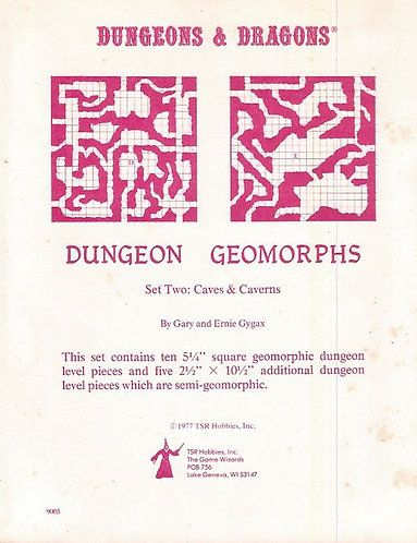 TSR 9005 Dungeon and Dragons Geomorphs Set Two Caves and Caverns