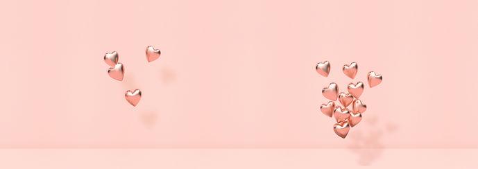 Corações 3D rosa