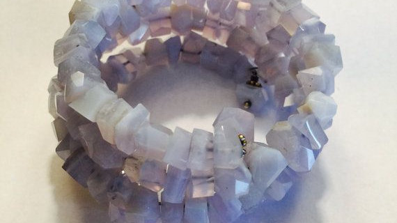 Blue chalcedony memory wire bracelet
