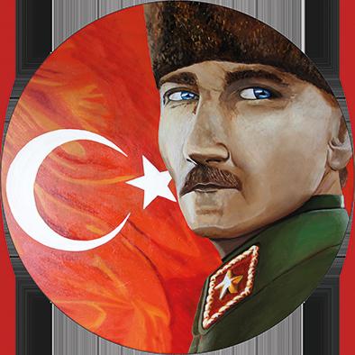 """Atatürk in Ewigkeit"" - Acrylglas Druck auf Alu-Dibond - 70 cm Durchme"