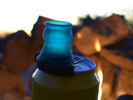 Enjoy canned beverage when camping