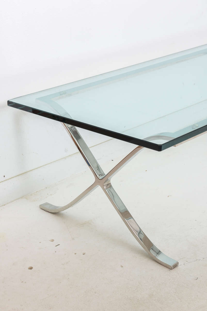 "Modern ""X-Base"" Cocktail Table"