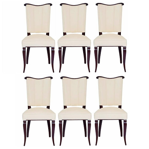 Set of Six Jules Leleu Style Art Deco Dining Room Side Chairs in Ultra-Suede