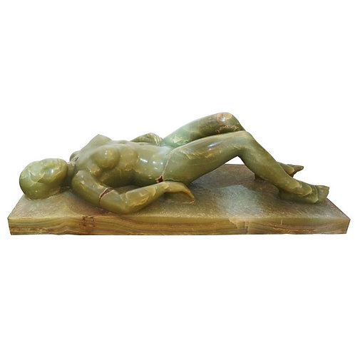 Large-Scale Onyx Sculpture of a Reclining Female Nude by Nuri Tortras