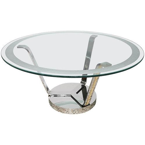 Rare Art Deco Style Round Dining or Center Table, Chrome & Brass, Karl Springer