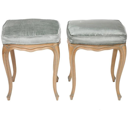 Pair of Louis XV Style Beechwood Benches/Stools