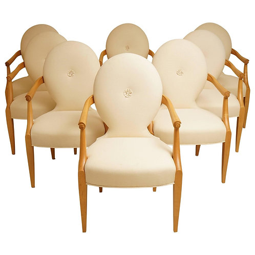 "Set of Eight ""Casper"" Maple Wood Dining Armchairs, John Hutton for Donghia, 1980"
