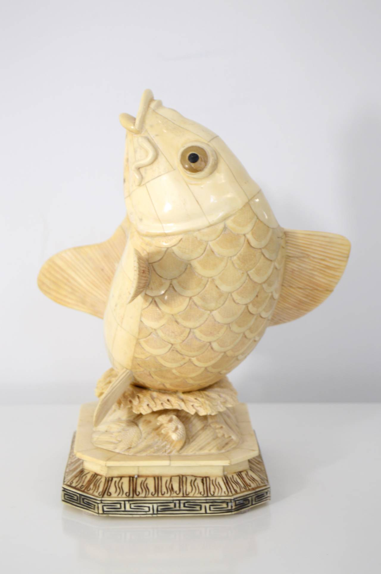 Asian Carved-Bone Sculpture of a Koi