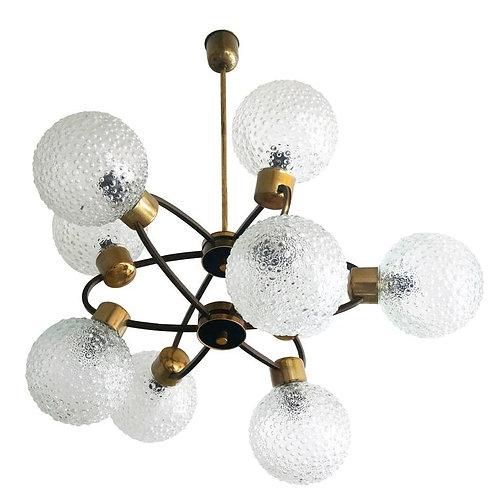 Mid-Century Modern Atomic-Orbital Chandelier, Antique Brass with Glass Globes