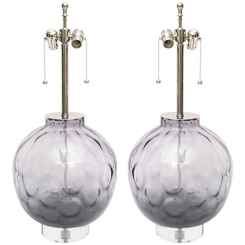 Large Scale Pair of Chrome, Lucite and Purple-Violet Colored Murano Glass Lamps