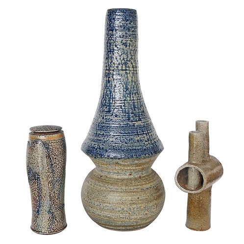 Collection of Three Mid-Century Modern, Studio Art, Stoneware Pieces