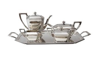 Art Deco Sterling Silver Five-Piece Coff