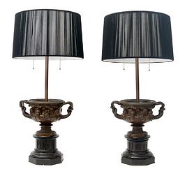 Pair of Grand Tour Bronze Table Lamps.pn