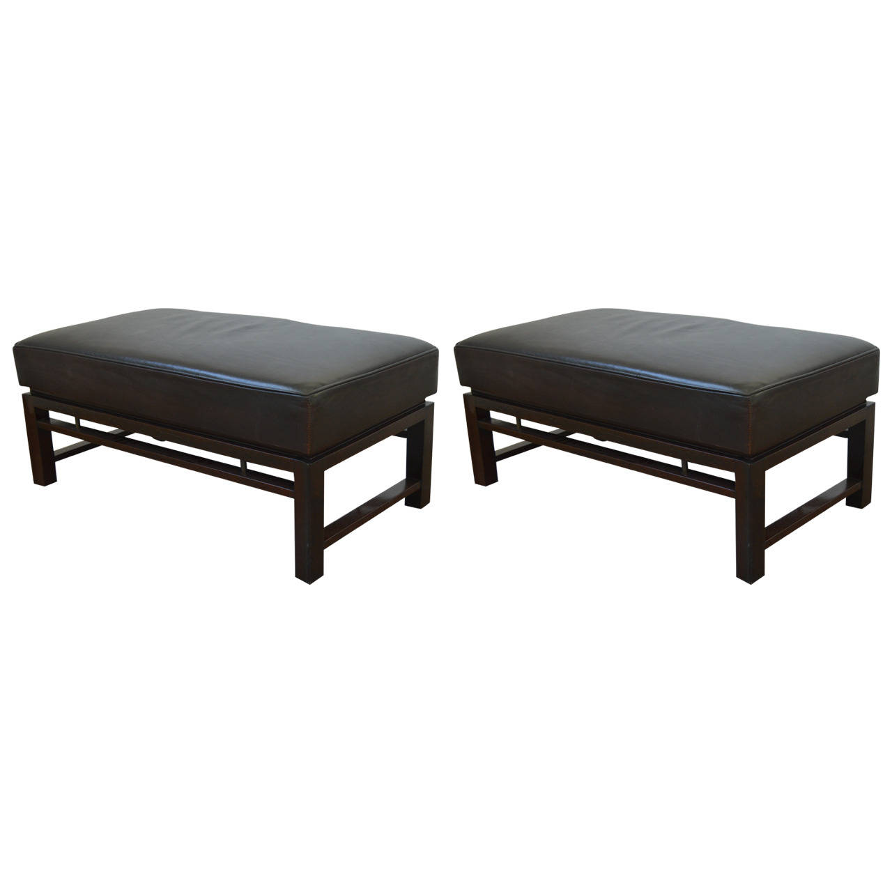 Pair of Leather Benches