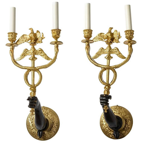 Pair of 19th Century French Empire Style Bronze Wall-Mount Candelabra