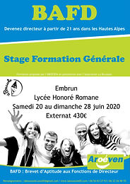 Formation BAFD 20 au 28 juin