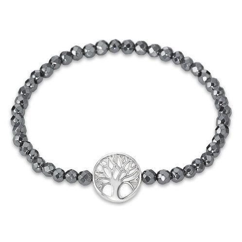 Armband Silber rhodiniert Hämatit 18 cm