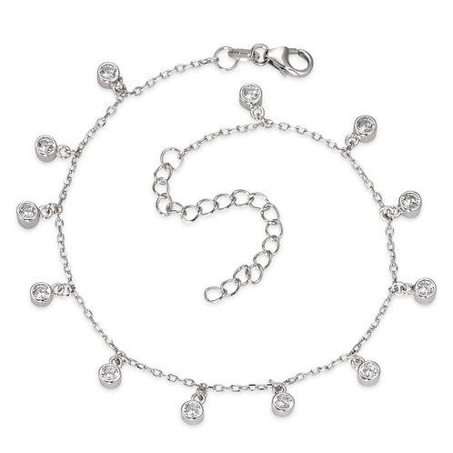 Fusskette  Silber rhodiniert Zirkonia 24-27cm