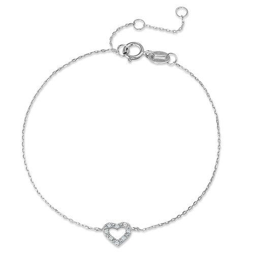 Armband 375/9 K Weissgold Diamant 0.025 ct Herz 15-18 cm verstellbar