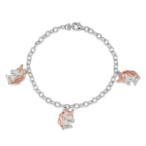 Armband Silber rhodiniert Einhorn oder Bicolor wählbar 17.5 cm