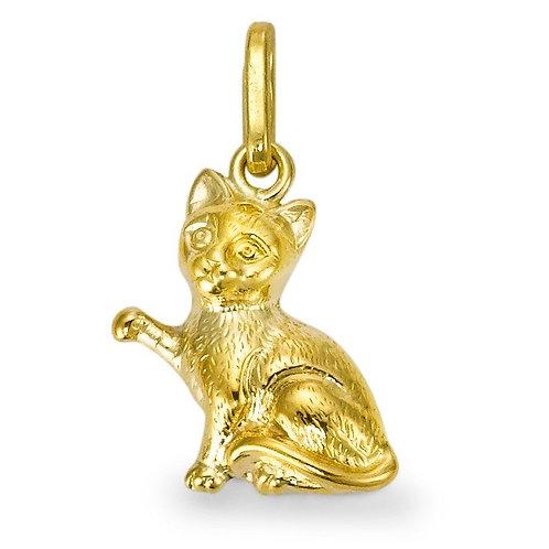 Anhänger 375/9 K Gelbgold Katze