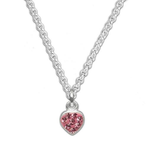 Kinder Set Halskette und Ohrstecker Glitzer Herz pink Silber 925 anlaufg