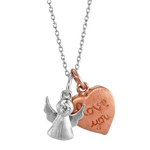 Halskette mit Anhänger Silber Zirkonia rosé vergoldet Herz 38-44 cm verstellbar