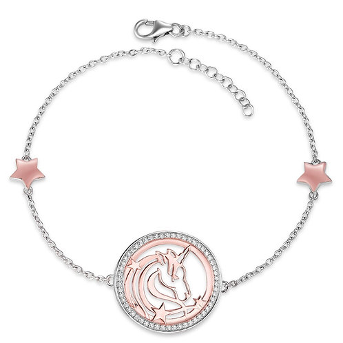 Armband Silber rosé bicolor Zirkonia Einhorn verstellbar 17-19cm
