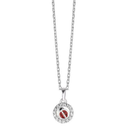 Halskette mit Anhänger Silber Zirkonia lackiert Marienkäfer 36-38 cm verstellbar