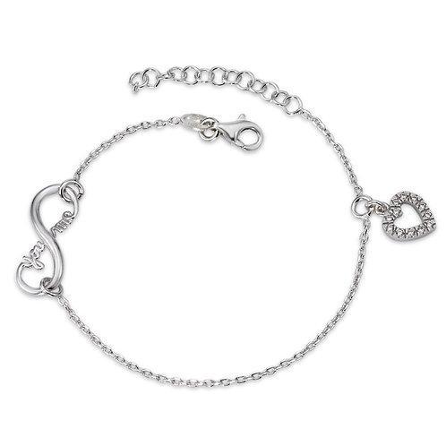 Armband Silber Zirkonia rhodiniert Infinity Herz 16-19 cm verstellbar