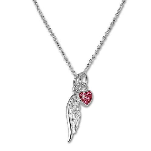 Kinder Halskette Engelsflügel mit Glitzer Herz pink Silber 925 anlaufg